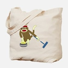 Sock Monkey Olympics Curling Tote Bag