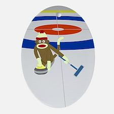 Sock Monkey Olympics Curling Ornament (Oval)