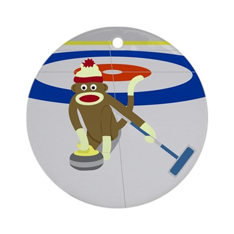 Sock Monkey Olympics Curling Ornament (Round)