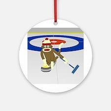 Sock Monkey Olympics Curling Ornament (Round)