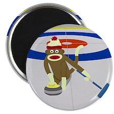 Sock Monkey Olympics Curling Magnet