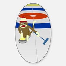 Sock Monkey Olympics Curling Sticker (Oval)