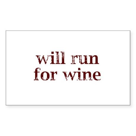 Will Run for Wine Sticker (Rectangle)