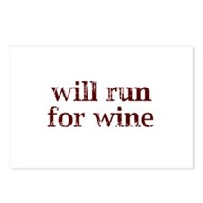 Will Run for Wine Postcards (Package of 8)