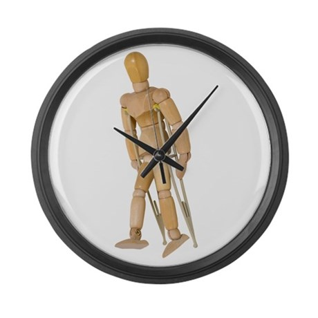 Using Crutches Large Wall Clock