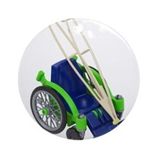 Wheelchair and Crutches Ornament (Round)