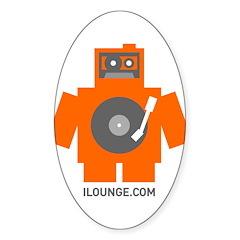 Robot DJ Sticker (Oval)
