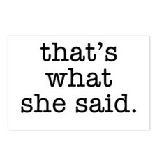 """""""That's What She Said"""" Postcards (Package of 8)"""