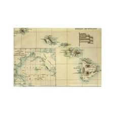 Antique Hawaii Map Rectangle Magnet (10 pack)