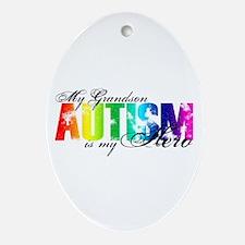 My Grandson My Hero - Autism Ornament (Oval)
