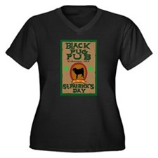 Funny Black pug Women's Plus Size V-Neck Dark T-Shirt