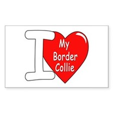 I Love My Border Collie Rectangle Decal