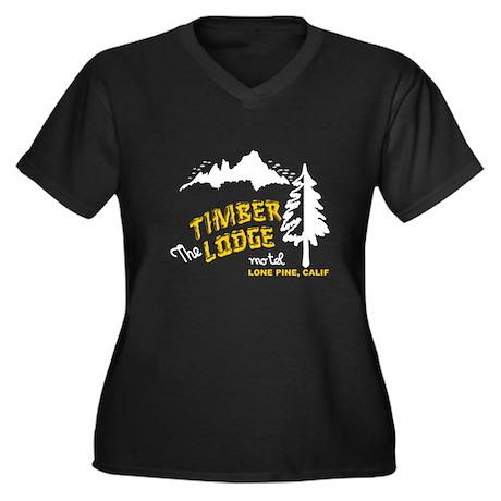 Timber Lodge Women's Plus Size V-Neck Dark T-Shirt