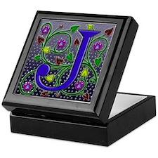 Keepsake Box monogram J ivy hearts squared art