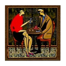 Tile Coaster Light lunch couple red sweater art