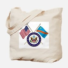 USA & DRC Flags with State Logo Tote Bag
