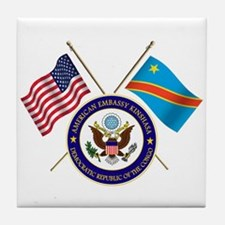 USA & DRC Flags with State Logo Tile Coaster