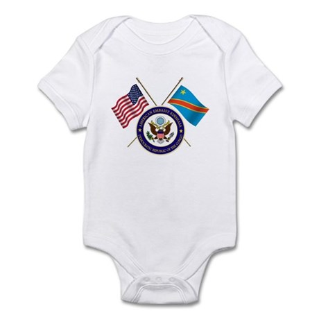 USA & DRC Flags with State Logo Infant Bodysuit