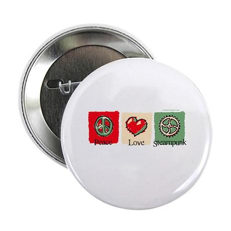 "Peace, Love, Steampunk 2.25"" Button"