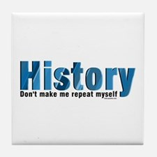 Blue Repeat History Tile Coaster
