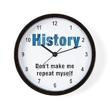Blue Repeat History Wall Clock