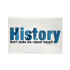 Blue Repeat History Rectangle Magnet