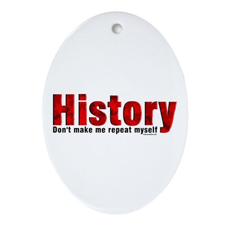 Repeat History Red Ornament (Oval)