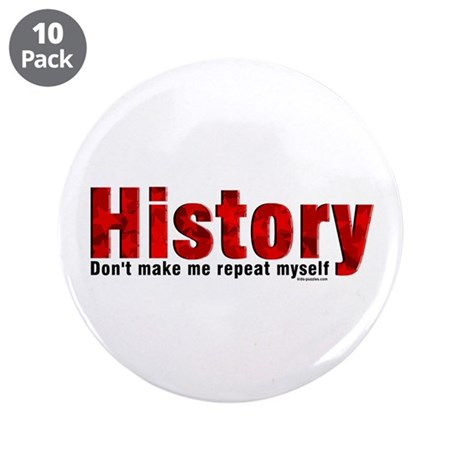 """Repeat History Red 3.5"""" Button (10 pack)"""