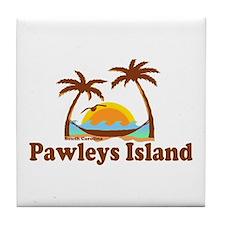 Pawleys Island SC - Sun and Palm Trees Design Tile