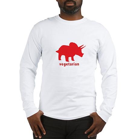 Vegetarian Triceratops - Red Long Sleeve T-Shirt