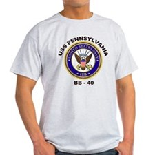 USS Pennsylvania BB 38 Ash Grey T-Shirt
