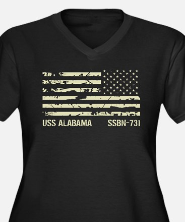 USS Alabama Women's Plus Size V-Neck Dark T-Shirt