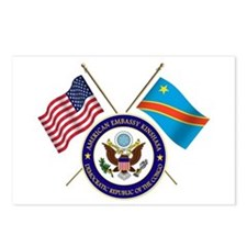 USA & DRC Flags Postcards (Package of 8)