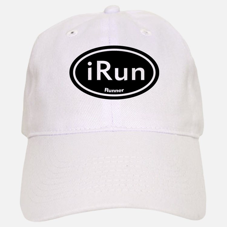 iRun Black Oval Baseball Baseball Cap