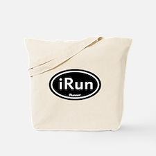 iRun Black Oval Tote Bag