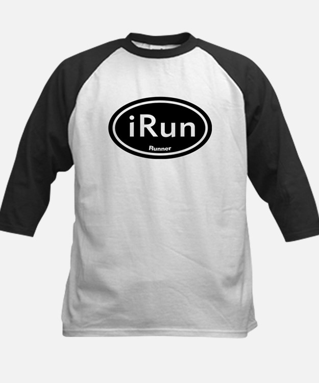 iRun Black Oval Kids Baseball Jersey