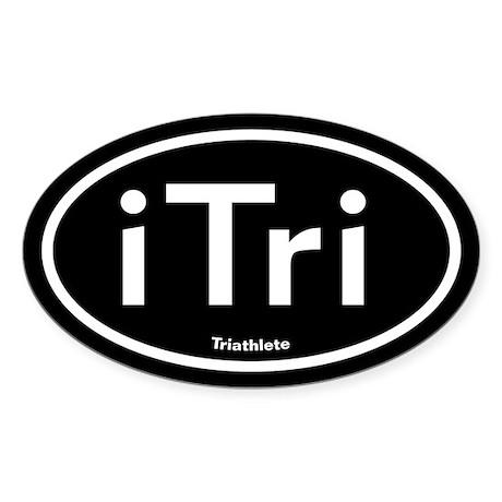 iTri Black Oval Sticker (Oval)