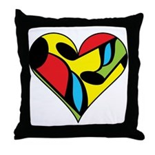 Music Note Heart Throw Pillow