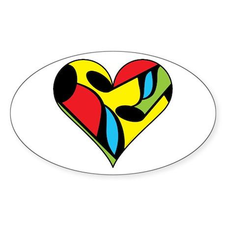 Music Note Heart Sticker (Oval)