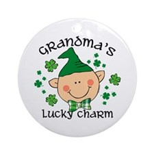 Grandma's Lucky Charm Boy Ornament (Round)