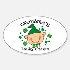 Grandma's Lucky Charm Boy Sticker (Oval)