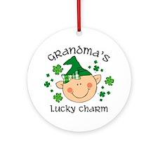 Grandma's Lucky Charm Girl Ornament (Round)