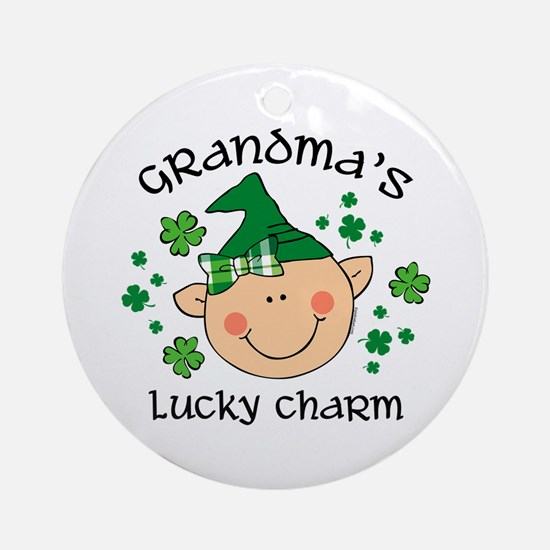 Grandma's Lucky Charm Girl Ornament (Round)