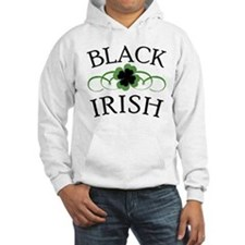 Black Irish with Fancy Shamrock Hoodie