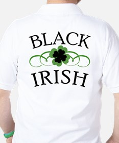 Black Irish with Fancy Shamrock Golf Shirt