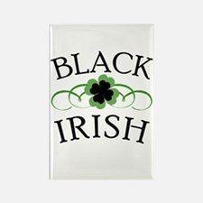 Black Irish with Fancy Shamrock Rectangle Magnet