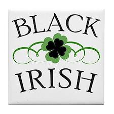 Black Irish with Fancy Shamrock Tile Coaster