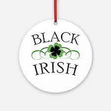 Black Irish with Fancy Shamrock Ornament (Round)