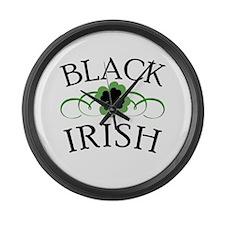 Black Irish with Fancy Shamrock Large Wall Clock