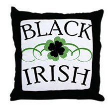 Black Irish with Fancy Shamrock Throw Pillow